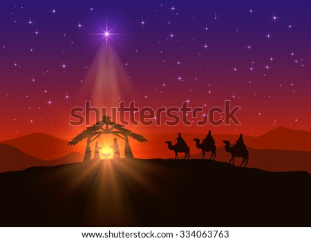 Christian background with Christmas star and birth of Jesus, illustration. - stock vector
