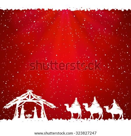 Christian Christmas scene on red background, illustration. - stock vector