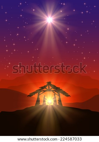 Christian Christmas scene with birth of Jesus and shining star in the sky, illustration. - stock vector