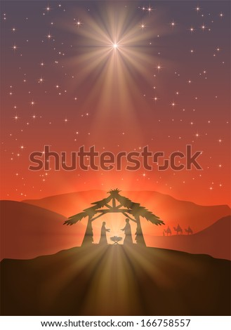 Christian Christmas scene with shining star and birth of Jesus, illustration. - stock vector
