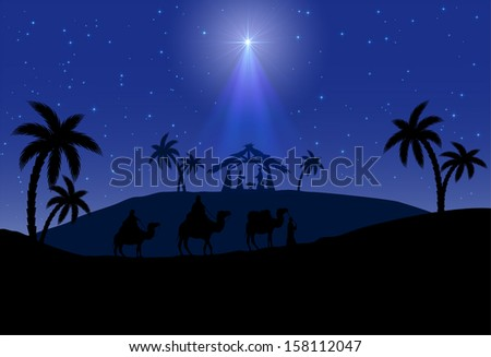 Christian Christmas scene with the three wise men and shining star, illustration. - stock vector