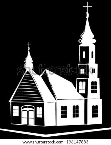 Christian church on black background - Vector illustration - stock vector