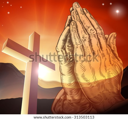 Christian cross and praying hands - stock vector