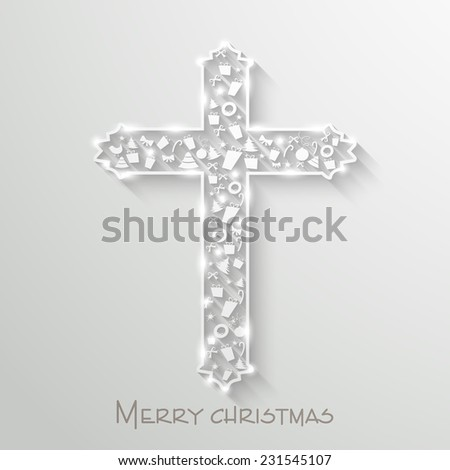Christian Cross decorated with shiny ornaments for Merry Christmas celebration on grey background. - stock vector