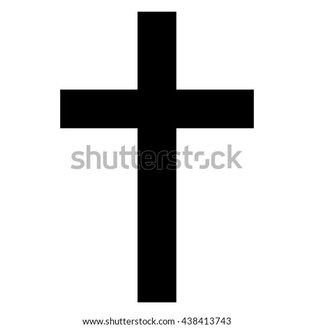 Christian cross icon , isolated cross symbol , black and white vector illustration - stock vector