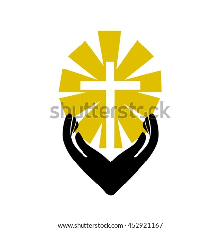 Christian cross with hand icon. Template logo for churches organizations - stock vector