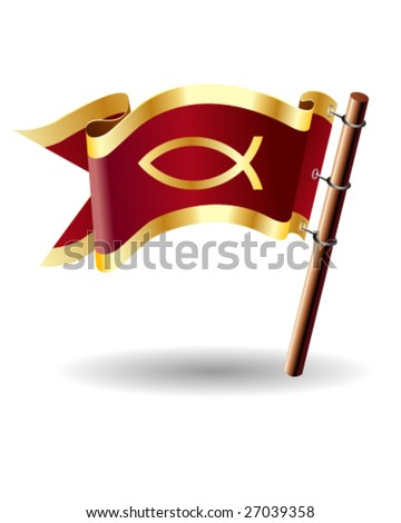 Christian fish symbol on red royal flag icon - stock vector