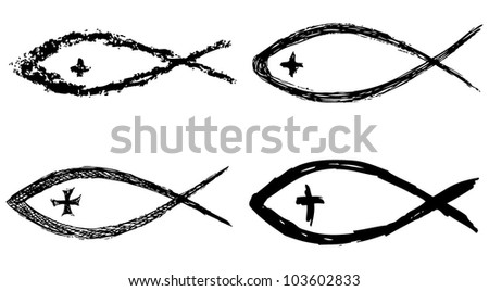 Christian fish symbol with cross. Vector - stock vector