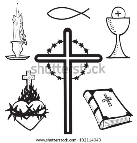 Christian hand-drawn symbols illustration - candle, cross, bible, fish, heart, goblet - stock vector