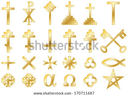 Christian religious symbols cast in gold: A collection of vector icons and symbols associated with the Christian faith isolated on white background - stock vector