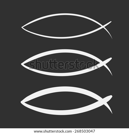 Christian sketch Fish Symbol. vector hand drawn on a black background - stock vector
