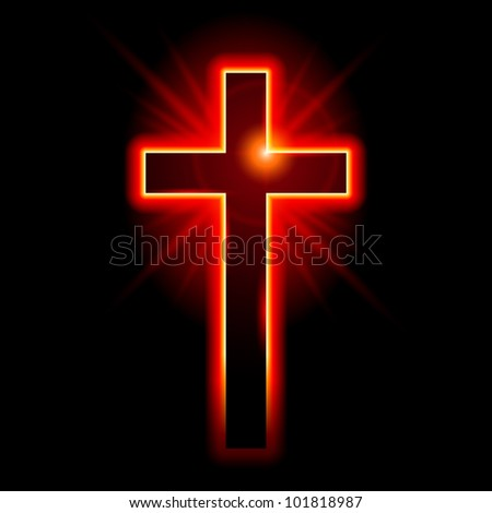 Christian symbol of the crucifix. Illustration on black background - stock vector