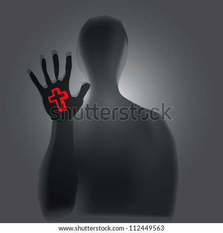 Christian symbolism in a person's hand. Vector illustration. - stock vector