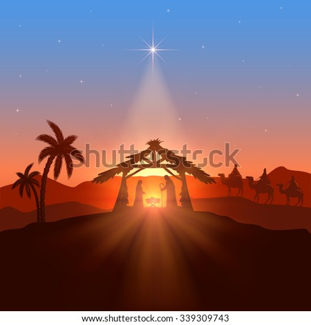 Christian theme with Christmas star, birth of Jesus, illustration. - stock vector