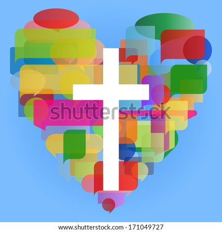 Christianity cross and heart religion vector abstract background concept illustration - stock vector
