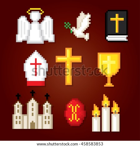 Christianity icons set. Pixel art. Old school computer graphic style. Games elements. - stock vector