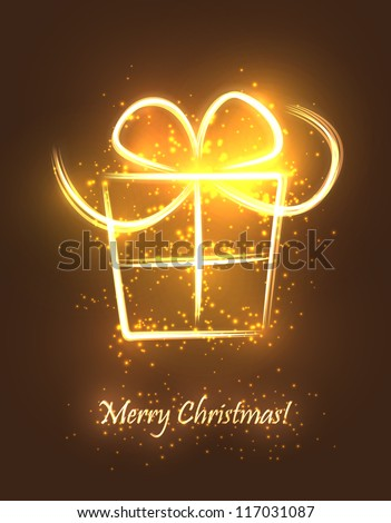 Christmas abstract resent box made of sparkles and lights. EPS10 vector greeting card. - stock vector
