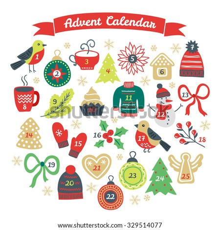 Christmas Advent Calendar with bullfinch, ball, cup of hot drink, fir tree, cookies, woolen hat, branch, cupcake, sweater, snowman, bow, poinsettia, mittens, berries, gingerbread heart and angel - stock vector