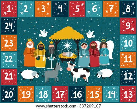 Christmas advent calendar with traditional nativity scene. Bright holiday background in cartoon style. - stock vector