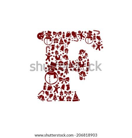 Christmas alphabet F on White Background - stock vector
