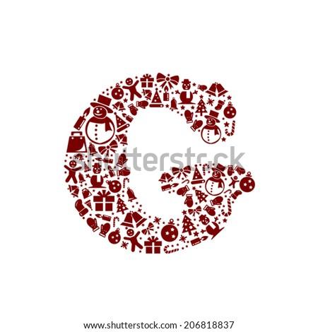 Christmas alphabet G on White Background - stock vector