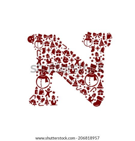Christmas alphabet N on White Background - stock vector