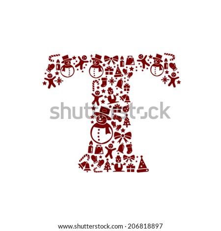 Christmas alphabet T on White Background - stock vector