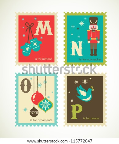 Christmas alphabet with cute xmas icons - stock vector
