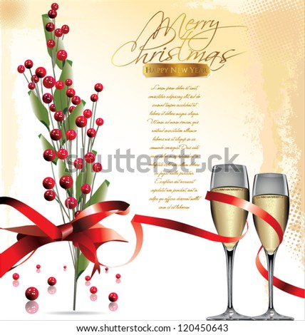 Christmas and happy new year background - stock vector
