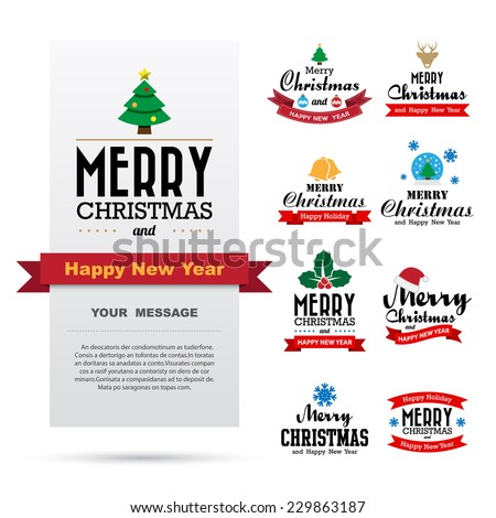 Christmas and Happy new year  card design , Illustration eps10 - stock vector