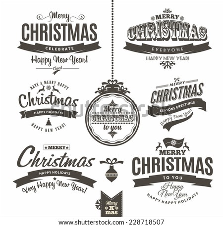 Christmas and happy new year lettering.Type composition. - stock vector