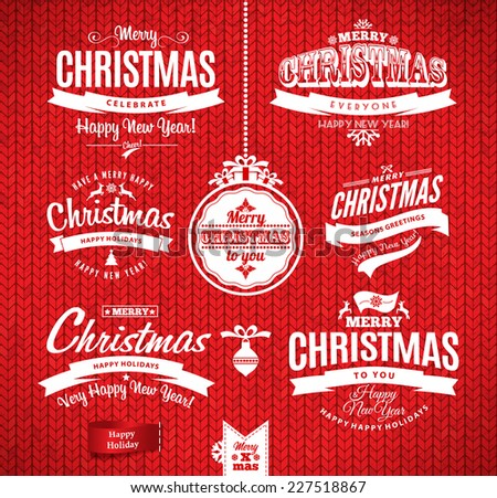 Christmas and happy new year lettering.Type composition. Seamless knitting pattern. - stock vector
