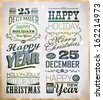 Christmas and Happy New Year typography, labels, calligraphic elements - stock vector