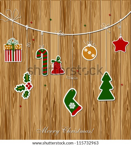 Christmas and New Year background - stock vector