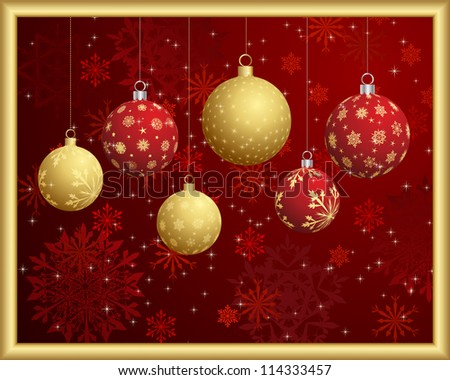 Christmas and New Year background. Vector illustration. - stock vector