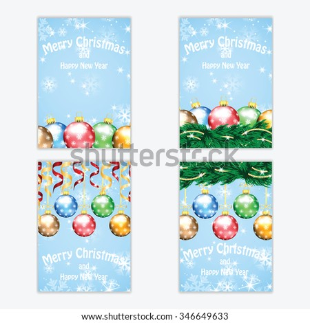 Christmas and New Year background with Christmas tree and Christmas decorations .Poster for  New Year with  Christmas decorations .Cards for Christmas and New Year standard size.Postcards. - stock vector