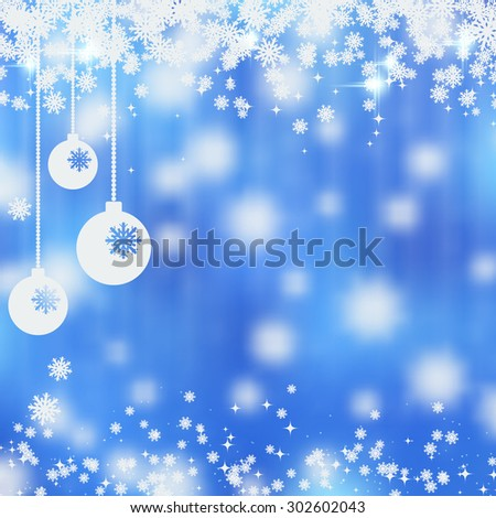 Christmas and New Year blurry blue vector background with stars, snowflakes and balls. Greeting or invitation card template - stock vector
