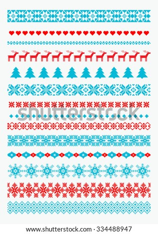 Christmas and New Year borders. Scandinavian style traditional motifs. All used pattern brushes included. - stock vector