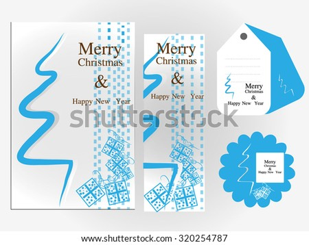Christmas and New Year card - stock vector