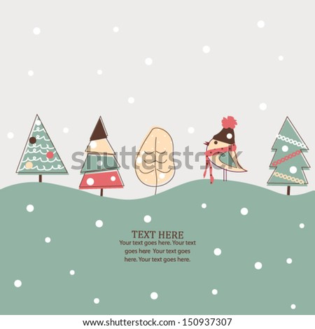 Christmas and New Year card with bird and trees, holiday illustration - stock vector