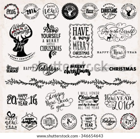 Christmas and New Year Design Elements, Badges and Labels in Vintage Style - stock vector