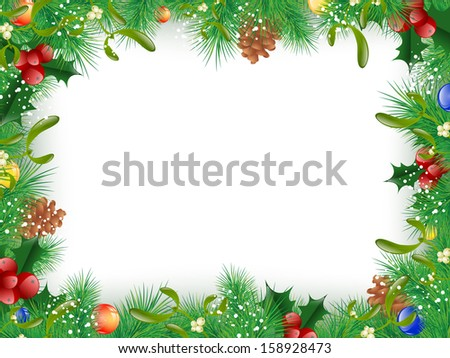 Christmas and New Year Fir Tree Decorative Frame, Copyspace - stock vector