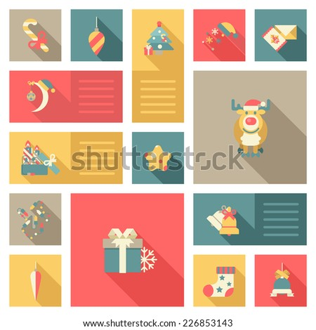 Christmas and New Year flat style decorations and labels icon set. Deer or reindeer, moon in hat, candy, gift, bell and postcard. Collection of holiday web icons and infographic elements. - stock vector