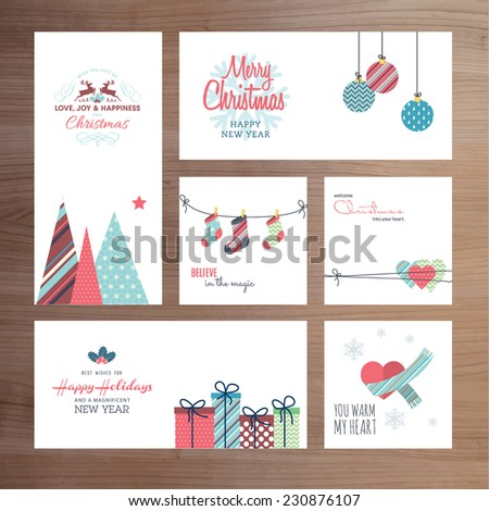 Christmas and New Year greeting card templates     - stock vector