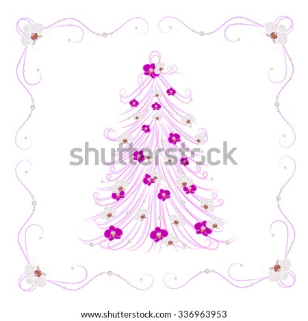 Christmas and New Year greeting card with Christmas tree decorated with flowers. - stock vector