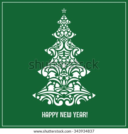 Christmas and New Year greeting card with tracery stylized Christmas trees. Vector illustration. - stock vector