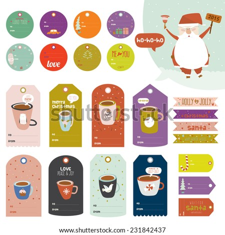 Christmas and New Year greeting stickers, labels, tags and ribbons with cute winter elements, typography, greeting and wishes. Good for wrapping and scrapbooking. Santa congratulates of the holidays - stock vector