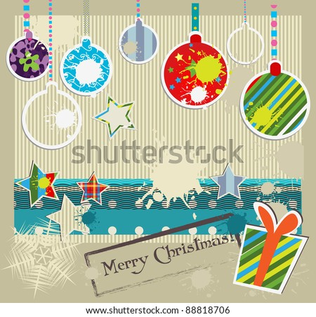 Christmas and New Year grunge card - stock vector