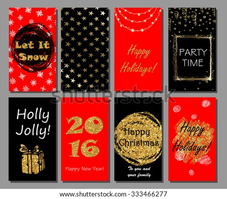 Christmas and New Year hand drawn cards collection with golden glitter texture. Xmas party invitation, greeting cards design. - stock vector