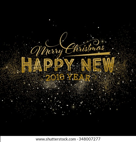 Christmas and New Year Holiday Geometry Design with Night Firework Background with Gold Sparks and Stars for Xmas Greeting Cards, Posters and Party Invitation Designs. - stock vector